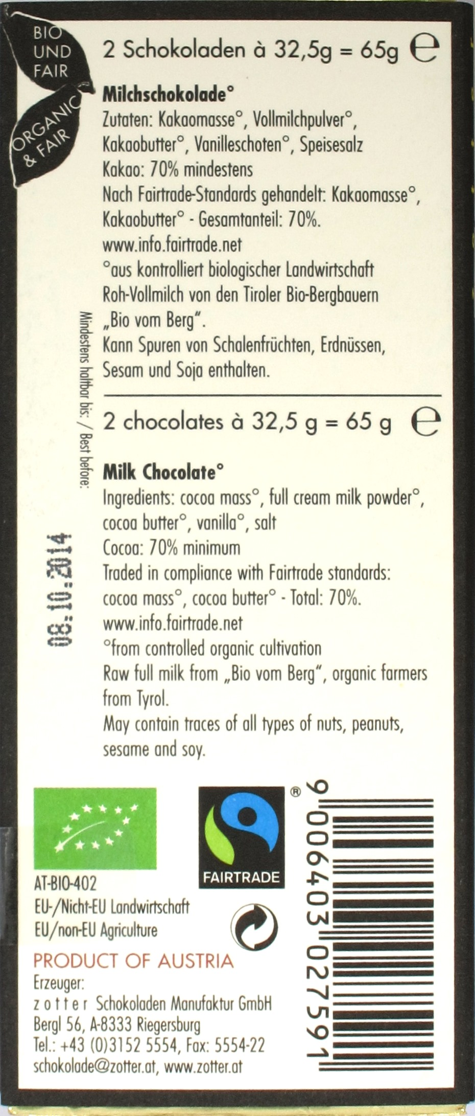 Zotter Dark Style 70% zuckerfreie Milchschokolade, Rückseite
