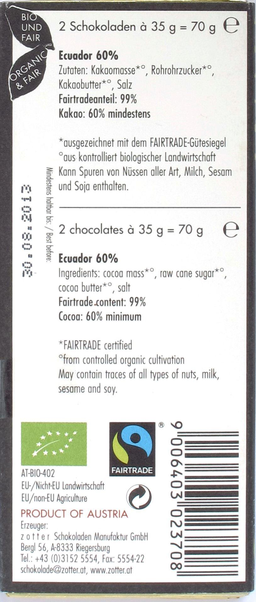Zotter, Labooko, Ecuador, Nacional-Kakao 60%, Rückseite