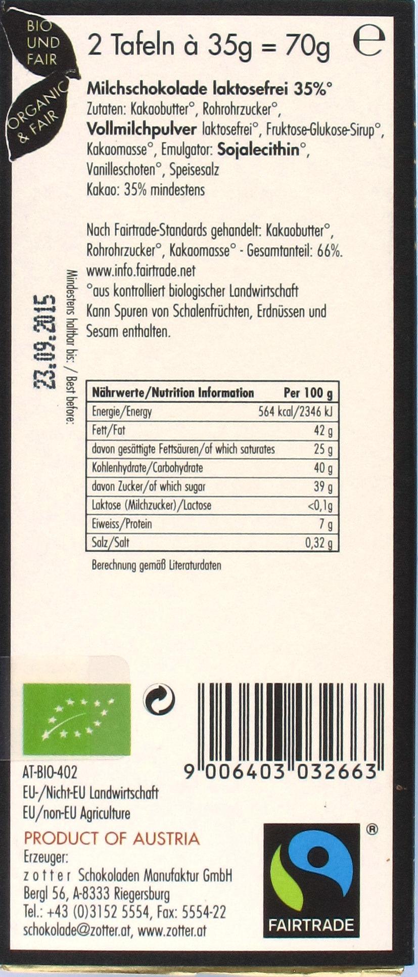 Inhaltsangaben: Zotter Labooko 35% Laktosefrei