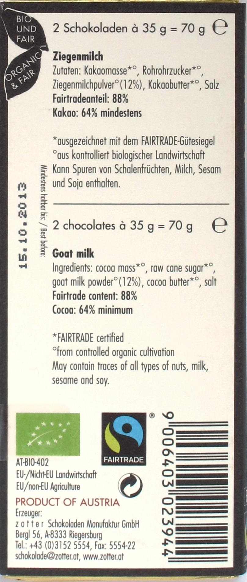 Rückseite Zotter Labooko Ziegenmilch 64%