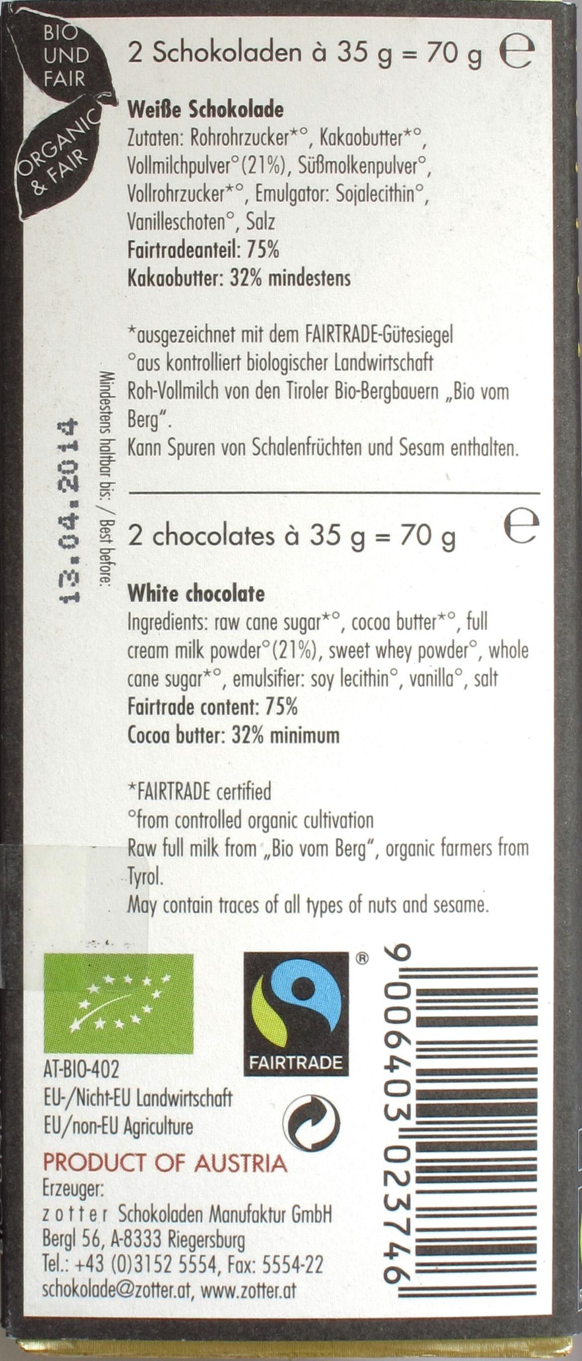 Zotter Labooko Weiße Schokolade, Rückseite